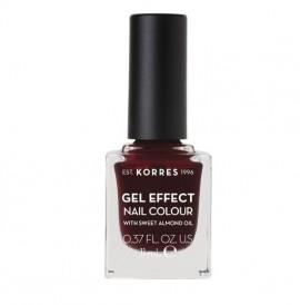 KORRES Gel Effect Nail Colour 57 Burgandy Red Με Αμυγδαλέλαιο 11ml