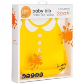 MAKE MY DAY - Baby Bib Σαλιάρα Σιλικόνης, Peter Pan Collar 6m-3y Κίτρινη 1τμχ