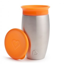 MUNCHKIN Miracle 360° Stainless Steel Sippy Cup, Πορτοκαλί- 296ml