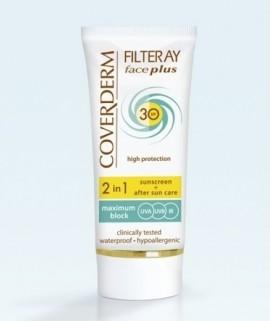 COVERDERM Filteray Face Plus SPF30, Soft Brown, Αντηλιακή Κρέμα Προσώπου με Χρώμα & After Sun, Κανονική Επιδερμίδα - 50ml