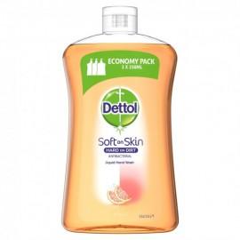 DETTOL Ανταλλακτικό Κρεμοσάπουνο Χεριών, Soft on Skin, Grapefruit, Economy Pack - 750ml