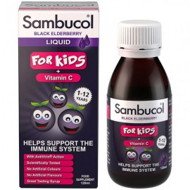 SAMBUCOL Liquid Black Elderberry For Kids + Vitamin C, Παιδικό Σιρόπι Ενίσχυσης  Ανοσοποιητικού - 120ml