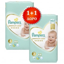 PAMPERS Premium Care No 3 (6-10 Kg) - 60τμχ, 1+1 Δώρο