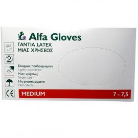 ALFA GLOVES - Γάντια Latex Μιας Χρήσεως Ελαφρώς Πουδραρισμένα Medium 100τμχ