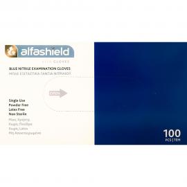 ALFA GLOVES - Alfashield Μπλέ Γάντια Νιτριλίου μιας Χρήσης Χωρίς Πούδρα & Latex Small μη αποστειρωμένα 100τμχ