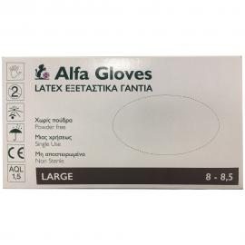 ALFA GLOVES - Latex Εξεταστικά Γάντια Χωρίς Πούδρα Large 100τμχ