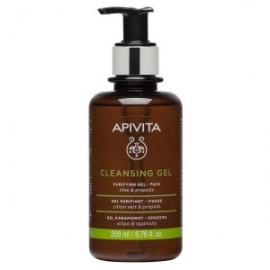 APIVITA Gel Καθαρισμού Για Λιπαρές/Μικτές Επιδερμίδες Με Πρόπολη & Lime - 200ml
