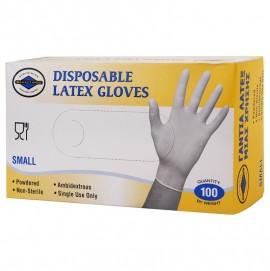 ΘΑΛΑΣΣΙΝΟΣ Γάντια Λάτεξ Μιας Χρήσης Με Πούδρα, Small - 100τεμ