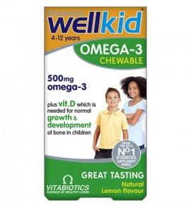 Vitabiotics Wellkid Omega-3 500mg  60 Chewable Tablets