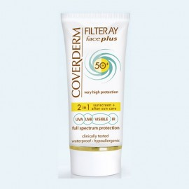 COVERDERM Filteray Face Plus SPF50, Light Beige, Αντηλιακή Κρέμα Προσώπου με Χρώμα & After Sun, Λιπαρή/ Ακνεϊκή Επιδερμίδα - 50ml
