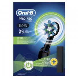ORAL B Pro 750 Black Edition, Ηλεκτρική Οδοντόβουρτσα Μαύρη & Δώρο Θήκη Ταξιδίου