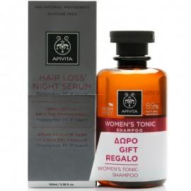 APIVITA Hair Loss Night Serum - 100ml & Women's Tonic Σαμπουάν κατά της Τριχόπτωσης - 250ml