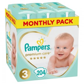 PAMPERS Premium Care No 3 (5-9Kg) Monthly Pack - 204τμχ