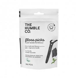 THE HUMBLE CO Dental Floss Picks Grip Handle, με Ενεργό Άνθρακα, Γεύση Μέντα - 50τεμ