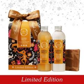 FRESH LINE Gift Set Caramel Biscuit, Αφρόλουτρο - 200ml, Γαλάκτωμα σώματος - 200ml, Χειροποίητο σαπούνι -140g