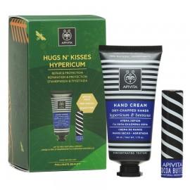 APIVITA Hugs n' Kisses Hypericum, Dry-Chapped Hand Cream Hypericum & Beeswax 50ml & Apivita LipCare Cocoa Butter SPF20 - 4.4gr