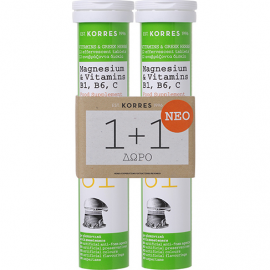 KORRES Magnesium & Vitamins B1 B6 C 12 Αναβράζοντα Δισκία 1+1 ΔΩΡΟ