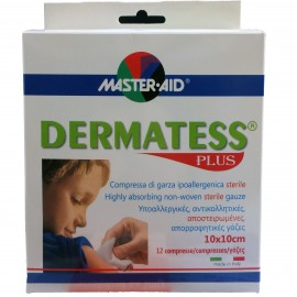 MASTER AID Dermatess Plus Γάζες 10x10 12τμχ