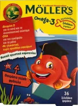 MOLLER'S Omega-3 Zελεδάκια-Ψαράκια Με Γεύση Φράουλα 36τμχ