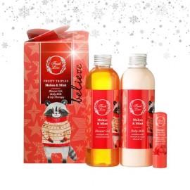 FRESH LINE Gift Set  Melon & Mint, Αφρόλουτρο - 200ml, Γαλάκτωμα Σώματος - 200ml, Θεραπεία χειλιών μάνγκο - 5,4g
