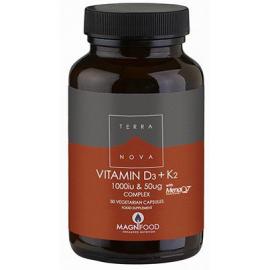 TERRANOVA Vitamin D3 1000iu & K2 (as MenaQ7®) 50 µg Complex 50 Φυτικές Κάψουλες