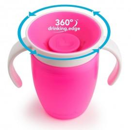 MUNCHKIN Miracle 360° Cup, Κύπελλο Εκπαιδευτικό με Λαβές, Ροζ - 207ml