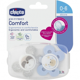 CHICCO Physio Comfort Σιλικόνης σε Γαλάζιο-Γκρι Χρώμα 0-6m 2τμχ