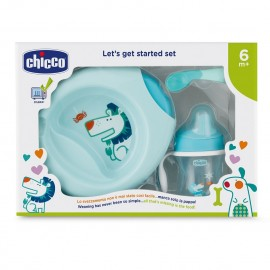 CHICCO Let's Get Started Set, Σετ Φαγητού 6m+, Μπλε