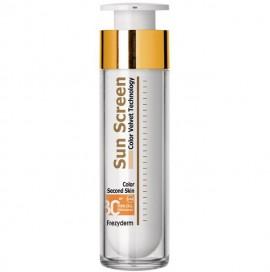 FREZYDERM Sun Screen Color Velvet Second Skin Face SPF30, Αντηλιακή Κρέμα Προσώπου με Χρώμα - 50ml