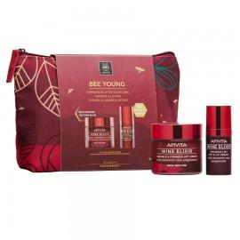 APIVITA Bee Young, Wine Elixir Αντιρυτιδική Κρέμα Πλούσιας Υφής- 50ml & Δώρο Αντιρυτιδική Κρέμα για Μάτια & Χείλη - 15ml