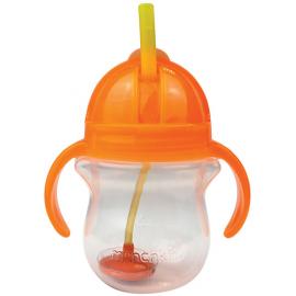 MUNCHKIN Tip & Sip Straw Cup Ποτήρι με Καλαμάκι & Βαρίδι που δε Χύνεται, Πορτοκαλί - 207ml