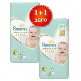 PAMPERS Premium Care No 4 (8-14kg) - 52τμχ, 1+1 Δώρο