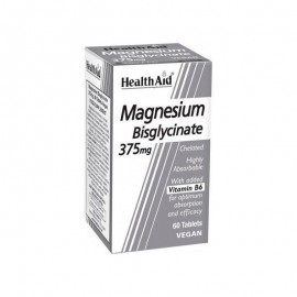 HEALTH AID Magnesium Bisglycinate 375mg, Μαγνήσιο Δισγλυγινικό & Βιταμίνη Β6 -60tabs