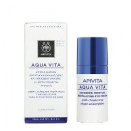 APIVITA Aqua Vita Κρέμα Εντατικής Ενυδάτωσης και Αναζωογόνησης Ματιών με Φυτοενδορφίνες λυγαριάς 15ml
