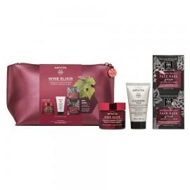 APIVITA Σετ Wine Elixir, Αντιρυτιδική Κρέμα Ελαφριάς Υφής - 50ml & Cleansing Milk 3 σε 1 - 50ml & Express Beauty Mask με Σταφύλι - 2x8ml