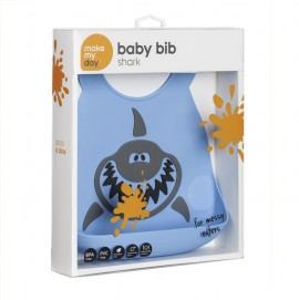MAKE MY DAY Baby Bib, Σαλιάρα Σιλικόνης Shark, 6+ μηνών - 1τμχ