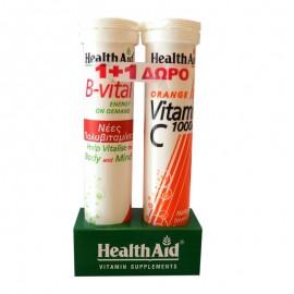 HEALTH AID B-Vital - 20 αναβρ. δισκ.  + Vitamin C 1000 Πορτοκάλι - 20 αναβρ. δισκ.