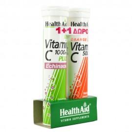 HEALTH AID Vitamin C Echinacea 1000mg  20 Αναβρ. Δισκία + ΔΩΡΟ Vitamin C 1000mg Πορτοκάλι 20 Αναβρ. Δισκία