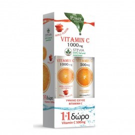POWER HEALTH 1+1 Vitamin C 1000mg Apple 24 Αναβρ.Δισκία & ΔΩΡΟ Vitamin C Orange 500mg 20 Αναβρ.Δισκία